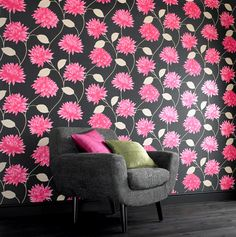 hot pink wallpaper interior design at DuckDuckGo Home Wallpaper, Black Wallpaper, Classic Wallpaper, Hanging Wallpaper, Paintable Wallpaper, Bathroom Wallpaper, Rosa Pink, Table Top Design, Botanical Wallpaper