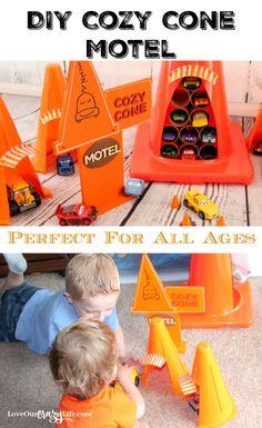 DIY Cars Cozy Cone Motel. Inspired by the Disney Pixar's Cars 3 movie. {ad}   Disney | Pixar | Cars | DIY | Kids | Crafts | Cozy Cone Motel | Play | Toys | Cars 3