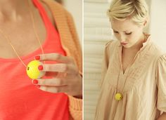 DIY neon wooden bead necklace