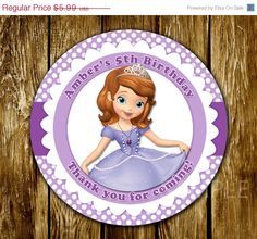 30% SALE Sofia the First Favor Tag or Label por cutepartyprintables