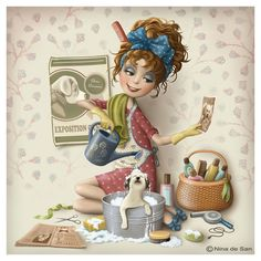 Solve Nina De San 36 jigsaw puzzle online with 64 pieces Decoupage, Art Anime, Woman Illustration, Whimsical Art, Cute Art, Art Pictures, Illustrations Posters, Art Drawings, Character Design