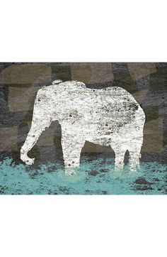 Green Leaf Art 'Vintage Elephant II' Wall Art available at #Nordstrom Halden's bathroom