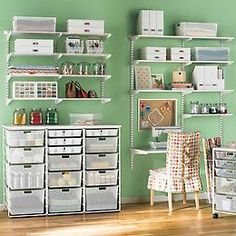 I like how the lower shelf can be used as a sewing table. Also like the shelves on the wall instead of a shelving unit.