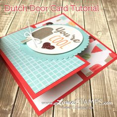 Fun Folds Tutorial: Dutch Door Card with Cool Treats Cards with a unique fold? I love this Dutch Door fold card for the simplicity – and I've been making a ton of them lately! What better way to feature some fun Designer Series Papers? Tri Fold Cards, Fancy Fold Cards, Folded Cards, Joy Fold Card, Card Making Tutorials, Card Making Techniques, Card Making Templates, Album Scrapbook, Karten Diy