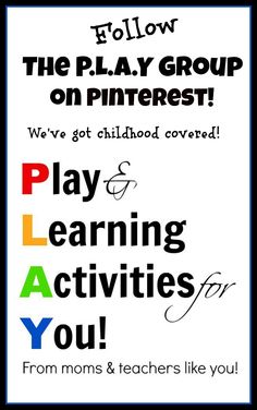 The P.L.A.Y Group is a collaboration of kid bloggers who have joined together to bring you the ULTIMATE resource of kids play and learning activities! Follow us on Pinterest and stay connected to ALL the fun!