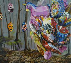 """Agents"", 90cm x 100cm, yolk tempera, oil, canvas, 2013"