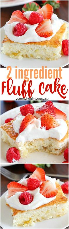 Fluff Cake is a delicious fat-free, low-calorie dessert with only TWO easy ingredients! It's the easiest dessert to make and comes out fluffy and light. Great served with fruit and whipped topping. :) (easy desserts to make 5 ingredients) Desserts Pauvres En Calories, Low Calorie Desserts, No Calorie Foods, Low Calorie Recipes, Low Calorie Cookies, Low Calorie Cake, Low Calories, Low Calorie Baking, Diet Recipes