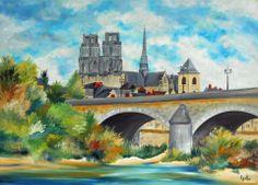 """Tableau du """"Pont George V""""ou """"Pont Royal"""" de la ville d'Orléans : Peintures par peintures-axelle-bosler"""
