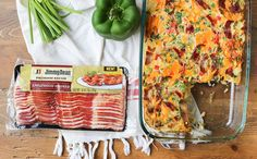 Jimmy Dean Bacon Casserole - Serve up a plate of cheesy potato egg bake. This breakfast casserole is stuffed with premium applewood smoked bacon, fresh bell peppers, chopped tomatoes, cheddar cheese, breakfast potatoes and herbs.