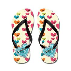 Poppylife Pretty Girly and Colorful Hearts Beach Flip Flops Adults M Blue -- Learn more by visiting the image link.