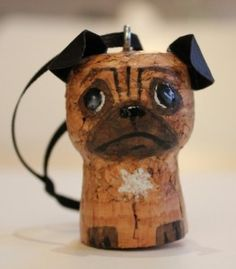Awe, how creative! A wine cork pug! I have got to find more cork crafts. Wine Craft, Wine Cork Crafts, Wine Bottle Crafts, Holiday Crafts, Fun Crafts, Wine Cork Ornaments, Christmas Ornaments, Wine Cork Projects, Wine Cork Art