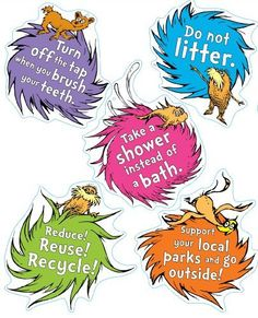 These printable graphics of the Lorax by Dr. Seuss will keep kids motivated and aid in their discovery of deforestation. In fact, these pictures could be incorporated into a craft (e.g., magnets). The messages support ways in which even our youth can help to reduce their ecological footprint and reduce negative impacts on our forests by reducing, reusing, and recycling.