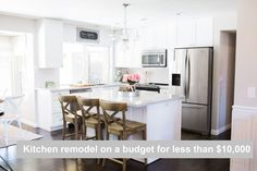 The Posh Home White Kitchen Remodel On A Budget For Under $10,000! Subway tile marble quartz countertops