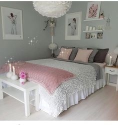 An improved, feminine bedroom that provides an area to remainder, research study. An improved, feminine bedroom that provides an area to remainder, research study or captivate pals in vogue. Pops of pin. Girl Bedroom Designs, Bedroom Themes, Bedroom Girls, Budget Bedroom, Bedroom Bed, Comfy Bedroom, White Bedroom, Bedroom Inspo, Girl Bedroom Paint