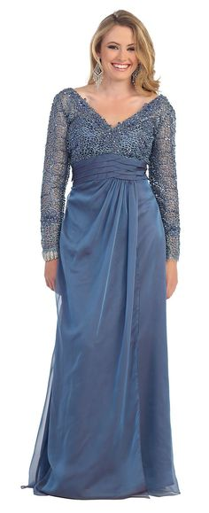 A sexy long sleeve dress with sheer lace sleeves. A V neck and lace bust. The waist has a sash that shows off the right amount of curves. The skirt is a long floor length with a sheer overlay. Fabric Chiffon, Lace. | eBay!