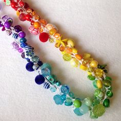Rainbow necklace beaded crochet by DollyDaydreamCrochet on Etsy