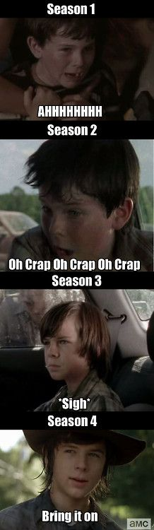 The evolution of Carl. From scared little boy to scary pre-teen. The Walking Dead