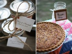 Jam wedding favors and pie bar covered with old quilt, Country chic rustic wedding #wedding #rustic