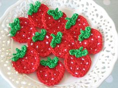 strawberry applique (from this pattern -- http://www.ravelry.com/patterns/library/strawberry-applique#)