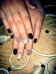 Nails#black#nude#dreamcatchwr#