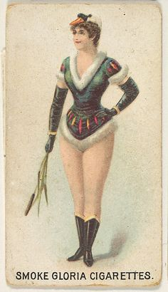 From the series Sports Girls, issued by the American Cigarette Company, ca. 1889