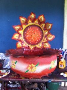 Sunflower planter - beautiful and bright! Learn how at http://shop.tirecrafting.com/