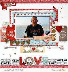 LOVE - Scrapbook.com. Scraptastic using their It Takes Two kit using products from Scraptastic, Pebbles, Crate Paper, Authentique and Echo Park.