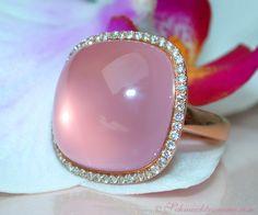 Rosenquarz Brillanten Ring, Roségold-750