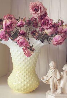 Dried Roses in a Vintage Milk Glass Vase