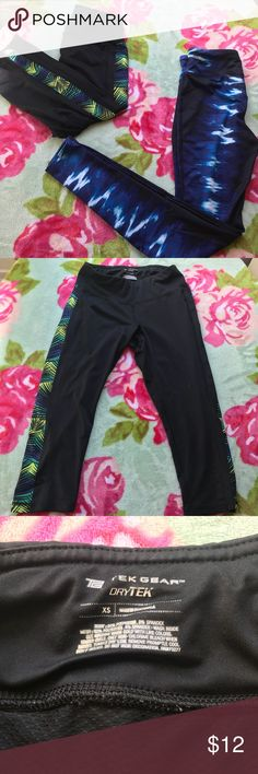 2 Athletic Leggings -Tek Gear and Forever21 Bundle Bundle of 2 pairs of leggings! Both in really good condition, no holes, stains, rips, etc.   Black and Green Leggings: Tek Gear, Dry Tek leggings! Super cute, XS Capri leggings with leaf designs down sides. Has zippered key pocket in back.  Blue and White Leggings: from Forever21, size XS.  Full length leggings.  Worn twice, in good condition. Has key pocket in front of waistband. tek gear Pants Leggings