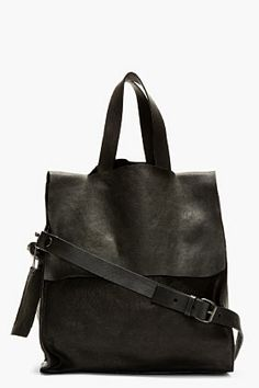 MARSÈLL Black grained leather modified tote bag