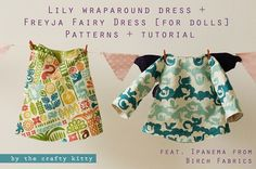 Free pattern: Freyja fairy doll dress and Lily wraparound dress for 16″ Waldorf dolls