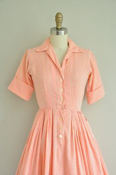 vintage 1950s dress / 50s peach cotton dress by simplicityisbliss, $68.00