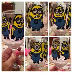 Minions Minion Glasses, Despicable Me, Minions, Wine Glass, Happiness, Party Ideas, Craft Ideas, Hand Painted, Random