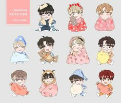 Wanna one fanart emw stickers, entertainment, k-wave on carousell Tumblr Stickers, Cute Stickers, Kpop Drawings, Mini Drawings, Lai Guanlin, Seventeen Wallpapers, Dibujos Cute, First Art, Bts Chibi