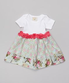 Another great find on #zulily! Green & Pink Paris in Springtime Skirted Bodysuit - Infant by Made 2 Matche #zulilyfinds