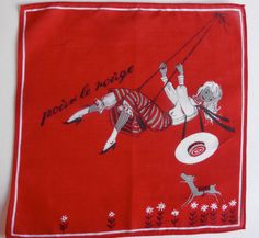 A vintage 50s novelty hanky.  Lipstick handkerchief.    This hankie is in a very good condition, looks unused.    Approx 10.2 x 10.2  Approx