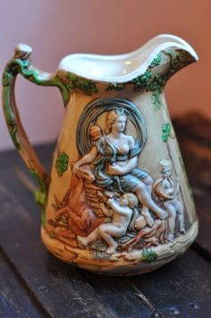 #etsy shop: Duncan Ceramics, Vintage Pottery Pitcher, Collectible, Nature themed, Goddess, Fertility, Prosperity, Abundance http://etsy.me/2zlTx8k #housewares #beige #babyshower #easter #green #ceramic #pagan #wicca #goddess