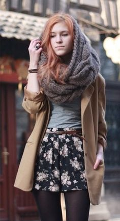 oversized awesome grey knit scarf and the outfit. awesome too.
