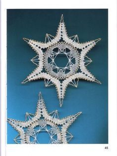 Picture only, pinned from a Russian site - dead end Bobbin Lace Patterns, Needle Lace, Lace Making, Punch Needle, Needlepoint, Snowflakes, Cross Stitch, Embroidery, Beads