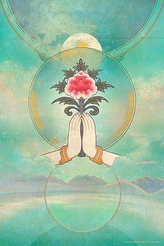 Namaste by Silas Toball Lotus Buddha, Art Buddha, Yoga Kunst, Illustrations, Illustration Art, Thich Nhat Hanh, Yoga Art, Sacred Geometry, Mystic