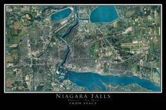 Niagara Falls New York - Ontario From Space Satellite Art Poster by TerraPrints.com. Available in multiple sizes with free shipping in the USA.