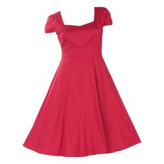 1ac15a166f56 Claudia Flirty Fifties Style Dress in Plain Red by Dolly and Dotty Fifties  Style