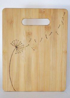 dandelion woodburned bamboo cutting board