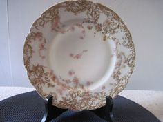 Haviland & Co. Limoges Plate made in France White & Gold with Roses