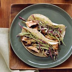 Dry-Rubbed Salmon Tacos with Tomatillo-Avocado Slaw | Food & Wine