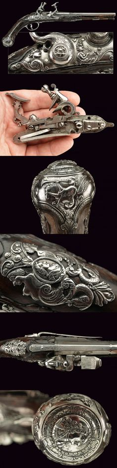 A beautiful flintlock snaphaunce pistol by Negroni,    provenance: North Italy dating: third quarter of the 18th Century.