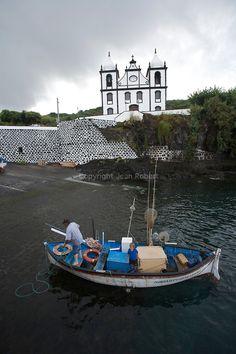 fishing harbour and church of Calheta de Nesquim. Pico  Island.Azores  Portugal