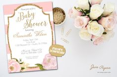 Invite your guests to a gorgeous baby shower with these fun printable invitations. Our templates are easy to edit in Acrobat Reader. INSTANT DOWNLOAD Pink Stripes Watercolor Pink Peony Gold Glitter Accents Baby Shower Printable Invitation. These beautiful invitations are perfect for a spring or summer garden baby shower celebration. Find more coordinating printables at JanePaperie: https://www.etsy.com/shop/JanePaperie