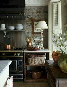 """31 Modern French Country Style Kitchen Decor Ideas That You Will Like - Do you love the curve of a graceful turned leg? Is button upholstery your passion? Is your favorite color """"toile""""? it's a pattern! Cozy Kitchen, Home Decor Kitchen, Rustic Kitchen, Home Kitchens, Kitchen Ideas, Farmhouse Kitchens, Smart Kitchen, French Cottage Kitchens, French Kitchen Decor"""